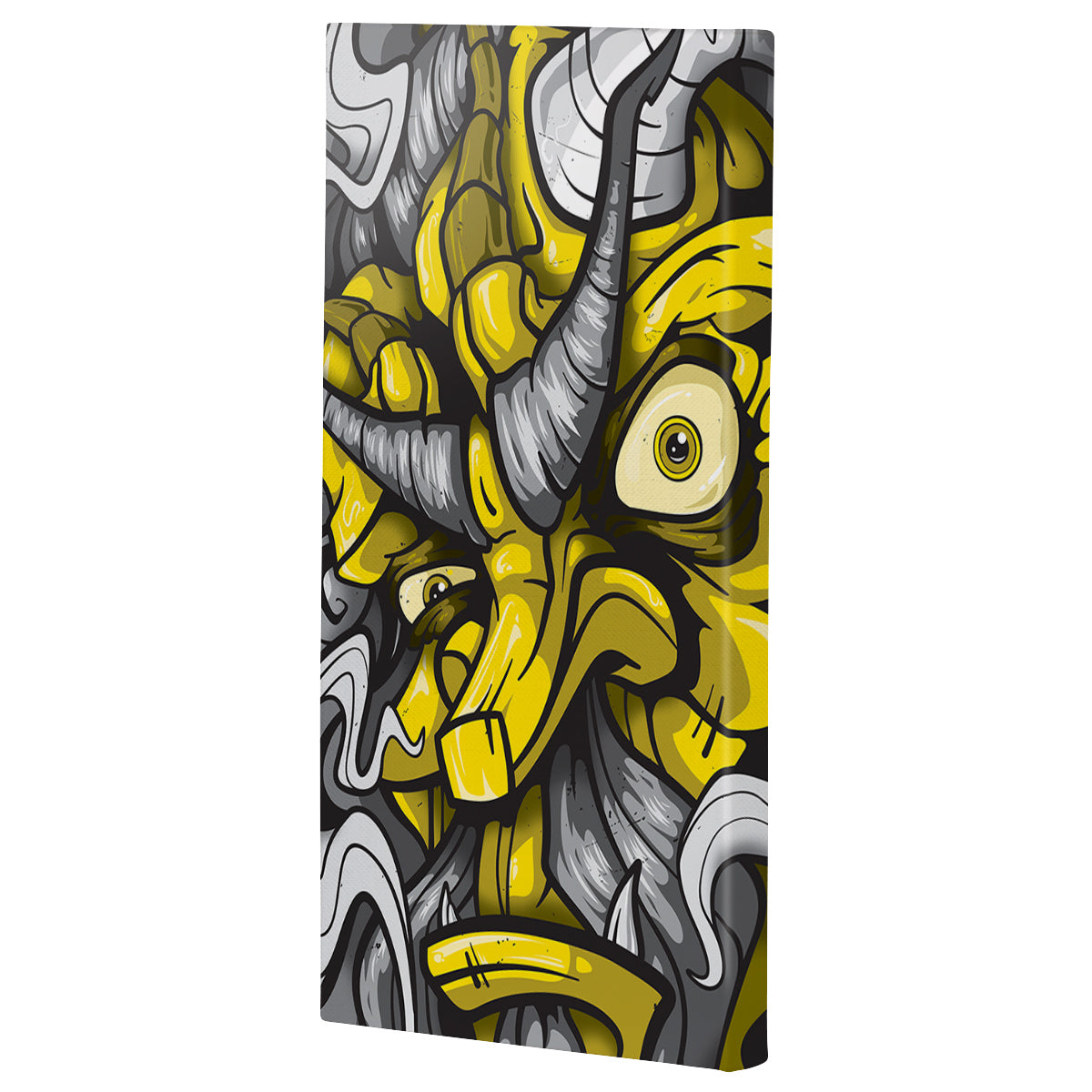 Lost Art Canada - yellow fire god canvas print angle view