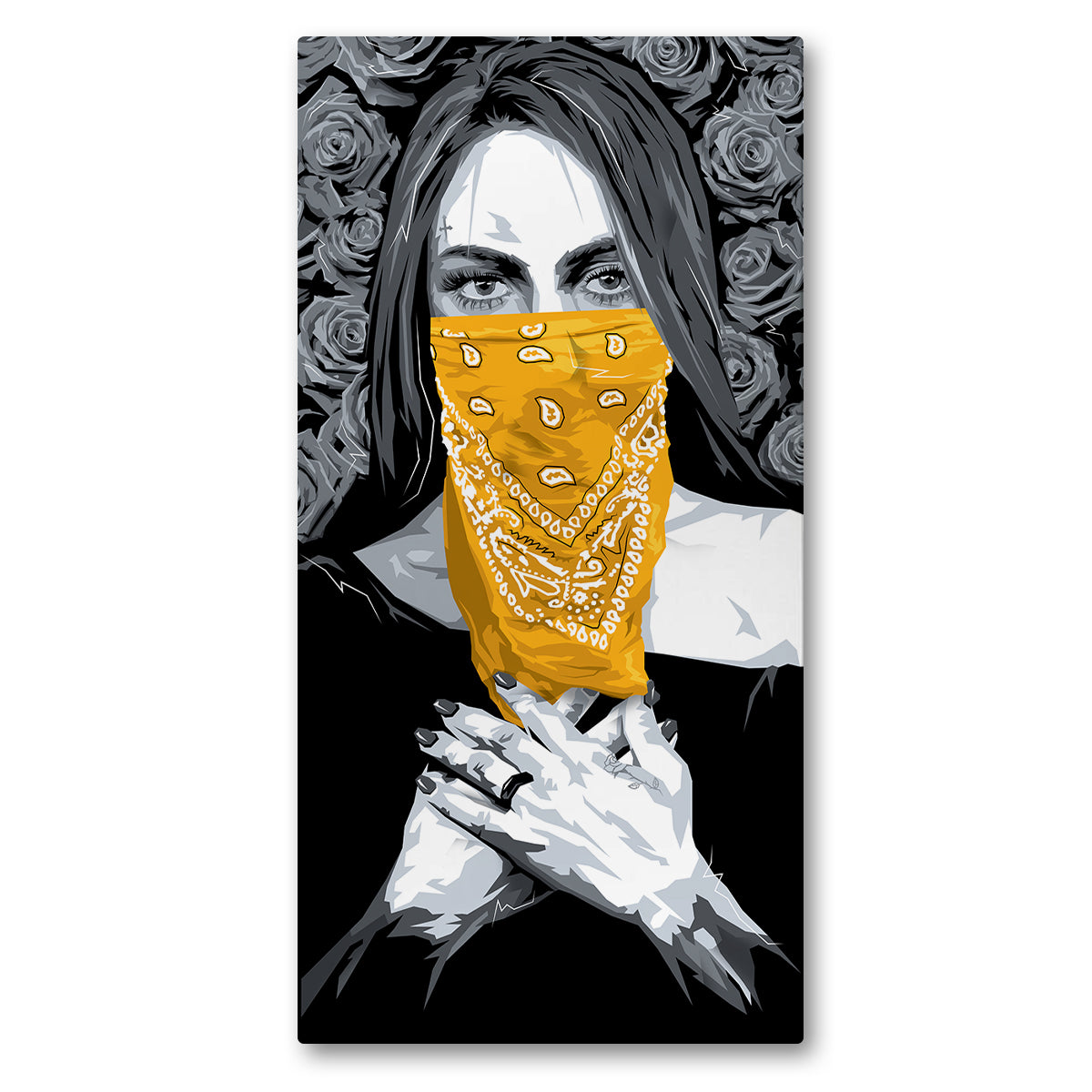 Lost Art Canada - yellow bandana bandita canvas print front view