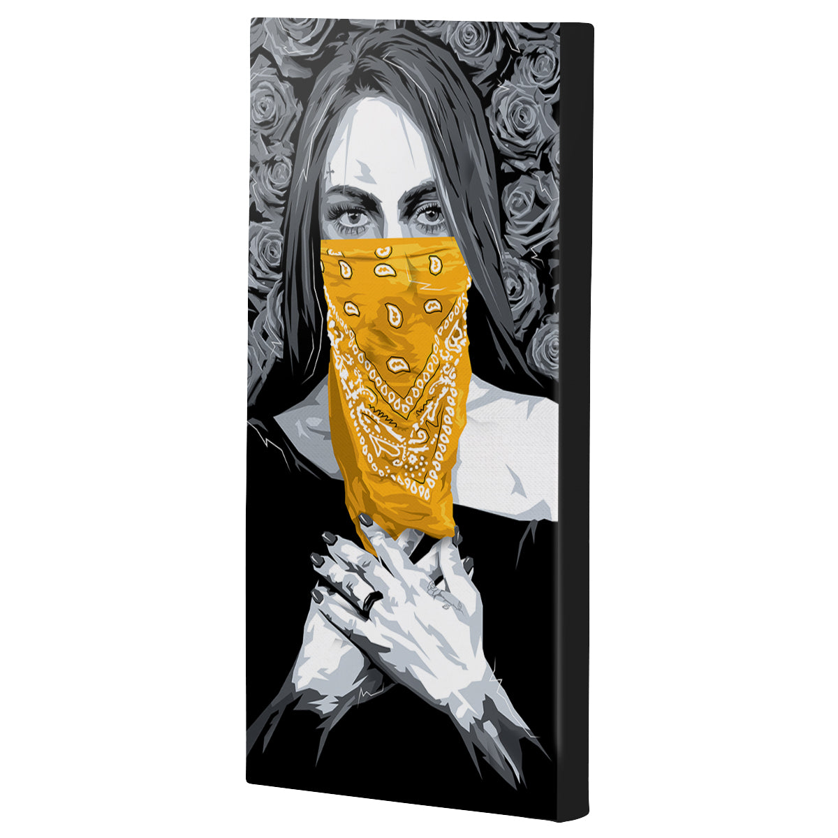 Lost Art Canada - yellow bandana bandita canvas print angle view