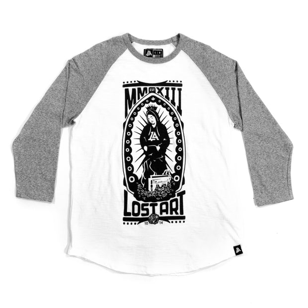 Lost Art Canada - white and grey blessed virgin mary baseball tee front view
