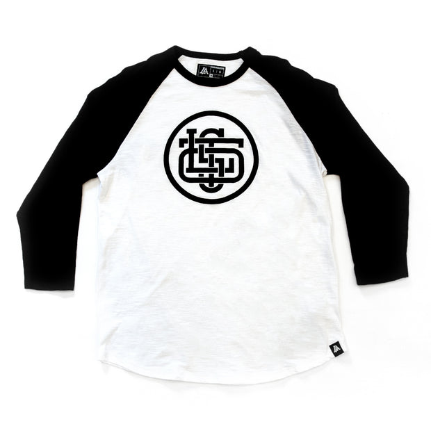 Lost Art Canada - black and white LOST monogram baseball tee front view