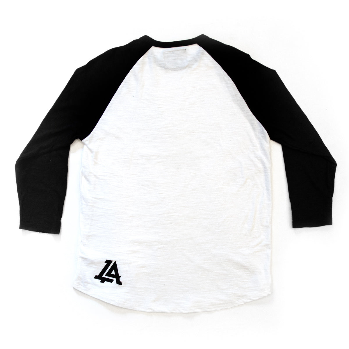 Lost Art Canada - black and white LOST monogram baseball tee back view