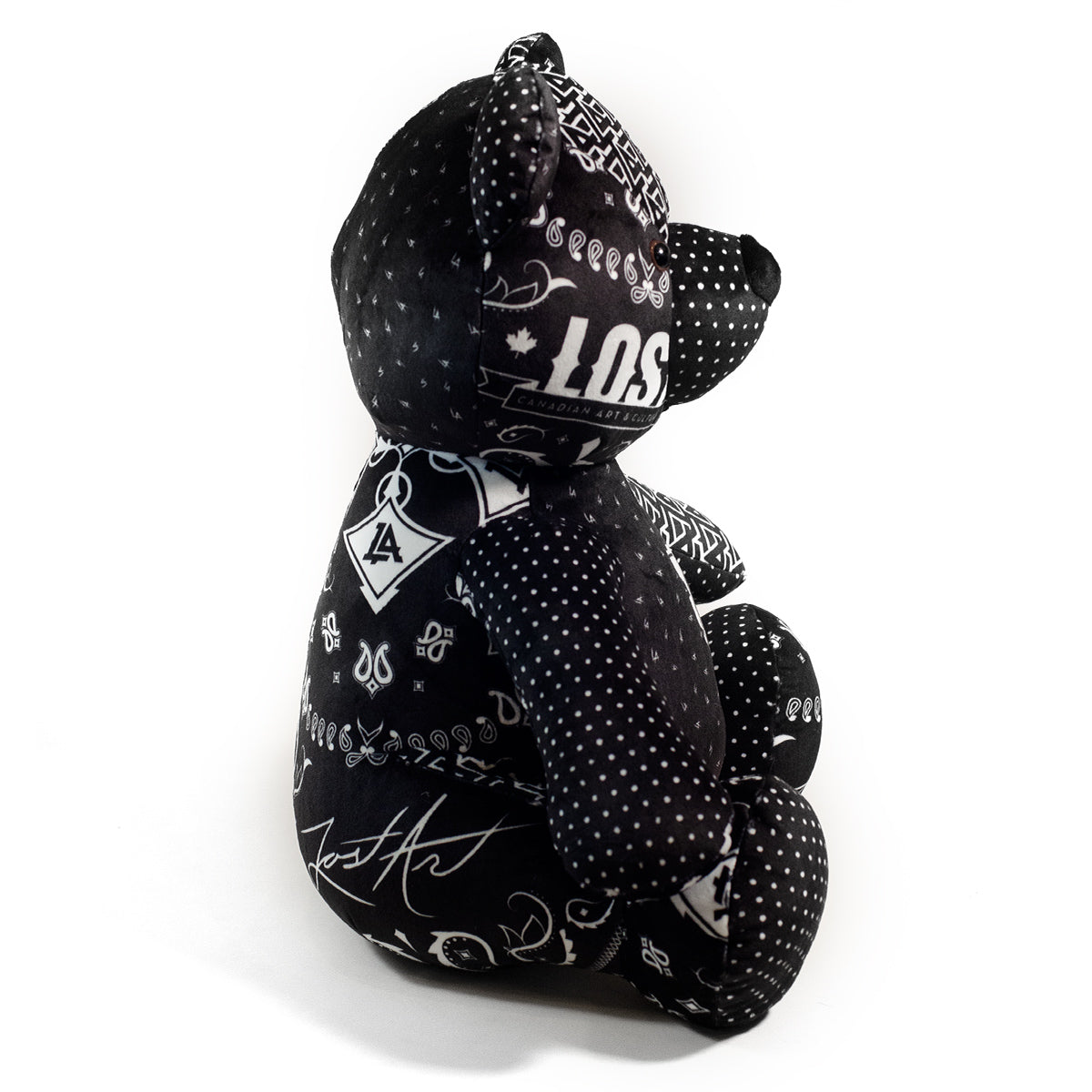 Lost Art Canada - black white patterned teddy bear right side view