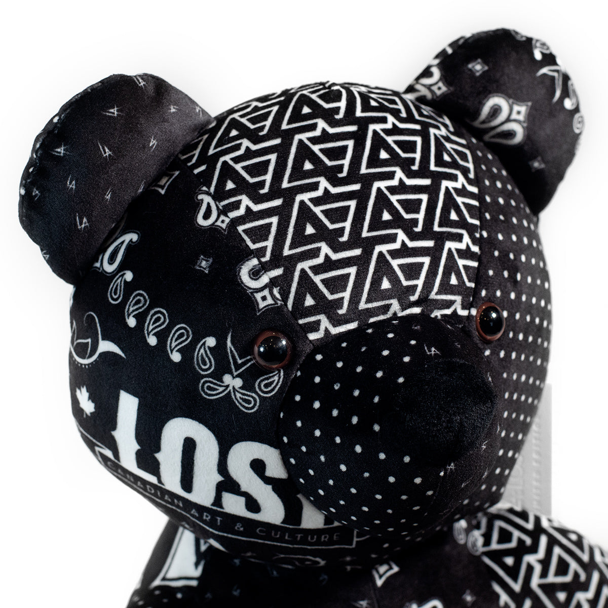 Lost Art Canada - black white patterned teddy bear close up view