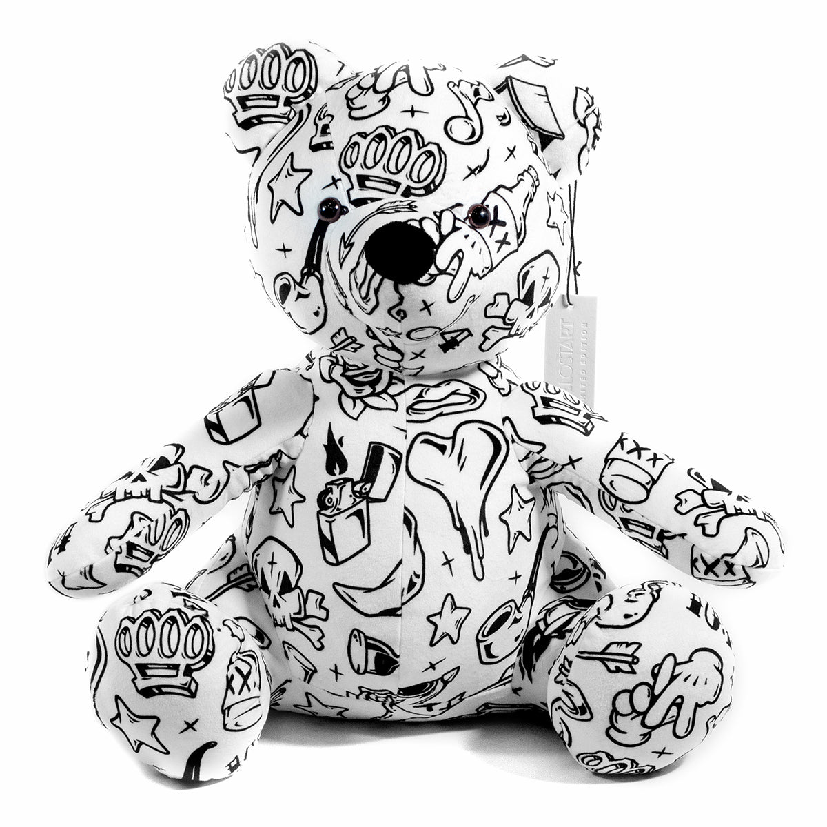Lost Art Canada - white black patterned teddy bear front view