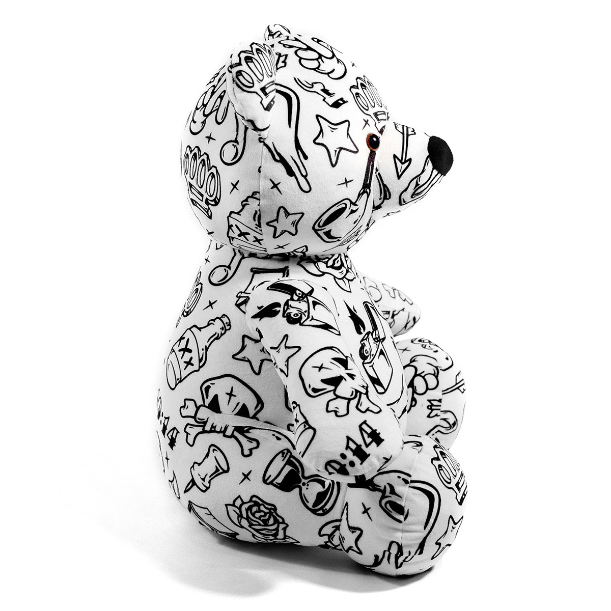 Lost Art Canada - white black patterned teddy bear right side view