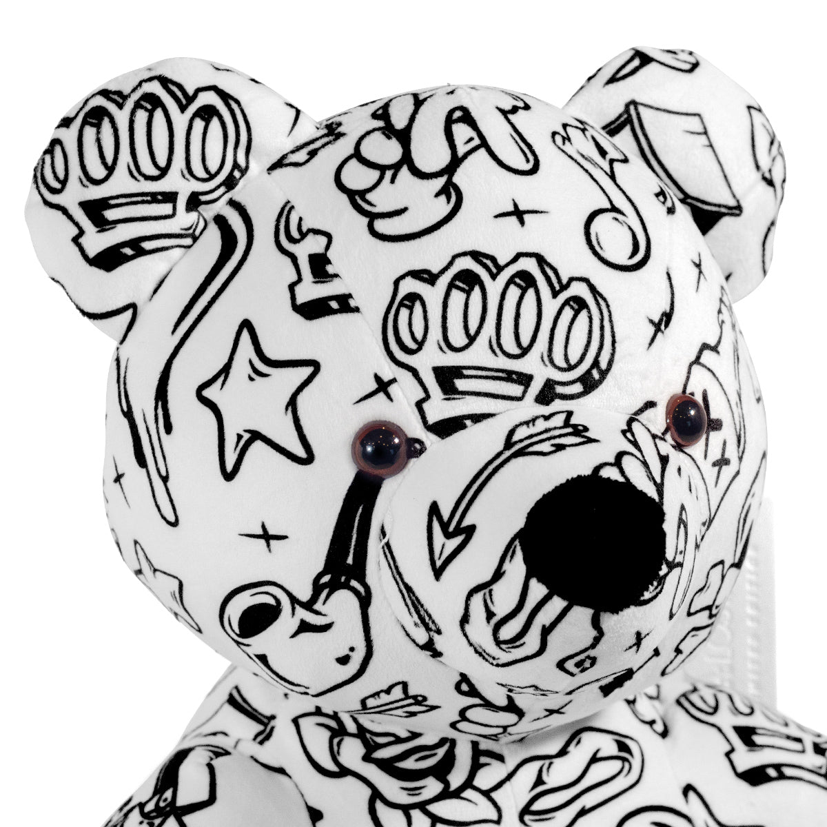 Lost Art Canada - white black patterned teddy bear signature view