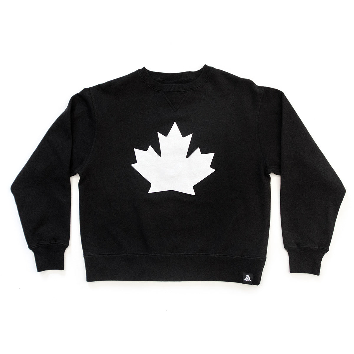 Lost Art Canada - black patriot Canada crewneck sweatshirt front view