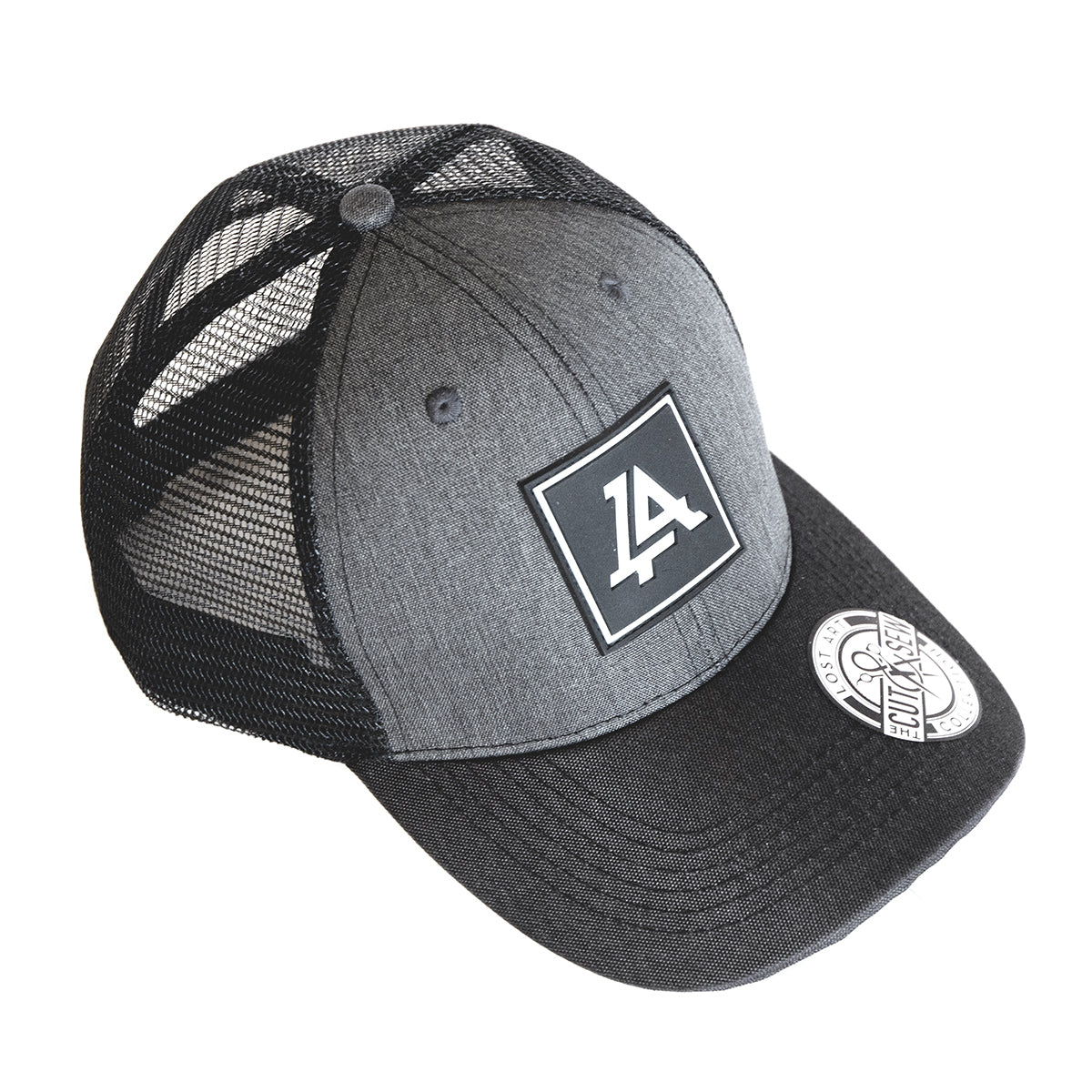 Lost Art Canada - grey and black patch curved snapback hat front view