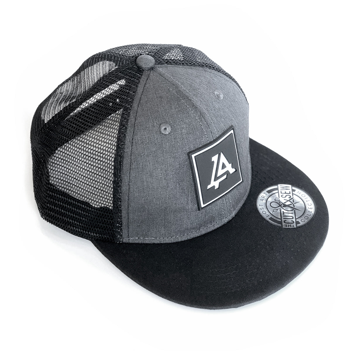 Lost Art Canada - grey and black patch snapback hat front view