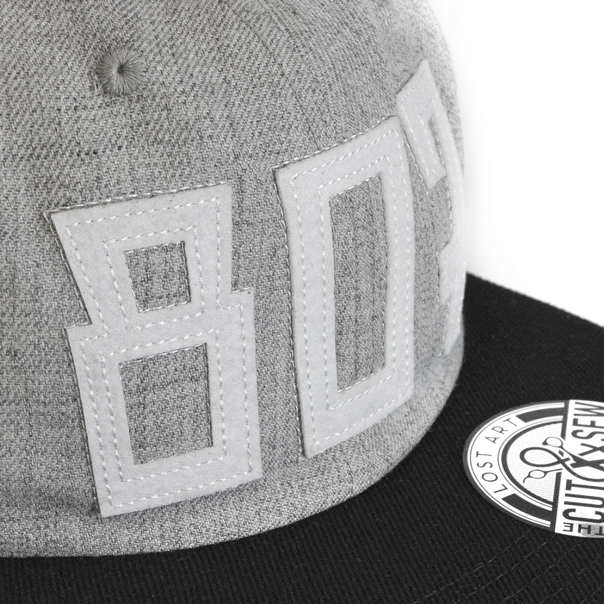 Lost Art Canada - white 807 grey wool mix snapback hat close up