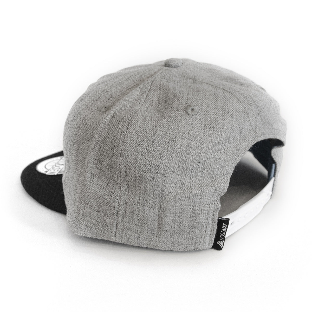 Lost Art Canada - white 807 grey wool mix snapback hat tag view