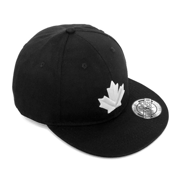 Lost Art Canada - white maple leaf black snapback hat front view