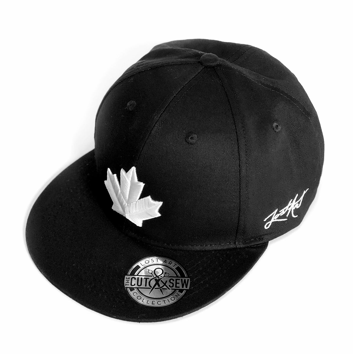 Lost Art Canada - white maple leaf black snapback hat angle view