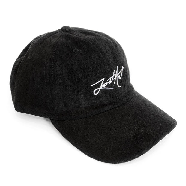 Lost Art Canada - black suede white signature logo strapback dad hat front view