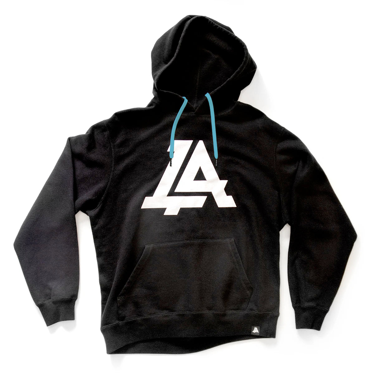 Lost Art Canada - black icon hoodie sweatshirt front view blue strings
