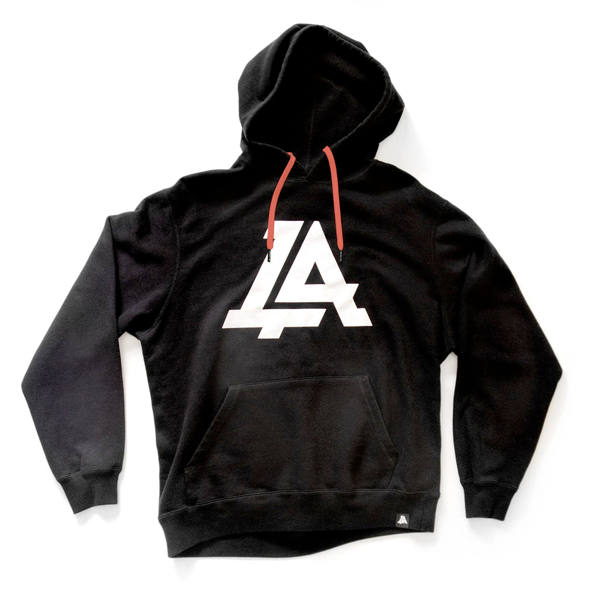 Lost Art Canada - black icon hoodie sweatshirt front view coral strings