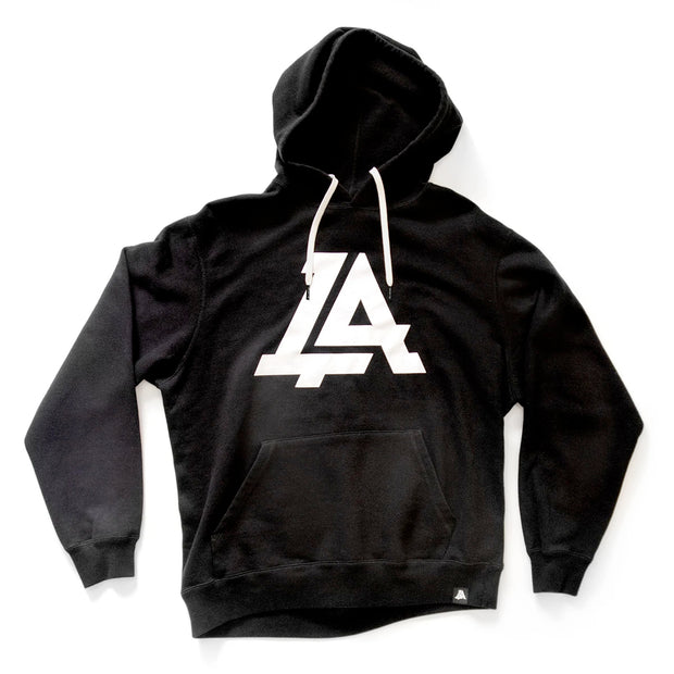 Lost Art Canada - black icon hoodie sweatshirt front view white strings