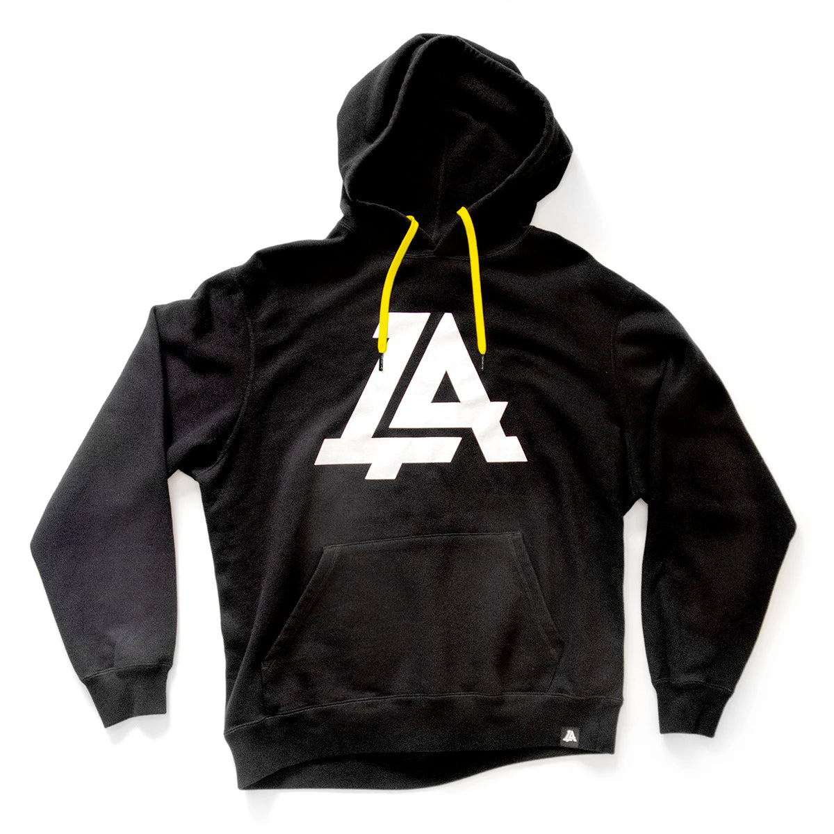 Lost Art Canada - black icon hoodie sweatshirt front view yellow strings
