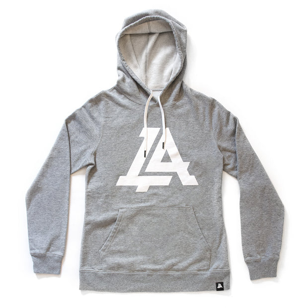 Lost Art Canada - grey icon womens hoodie sweatshirt front view white strings