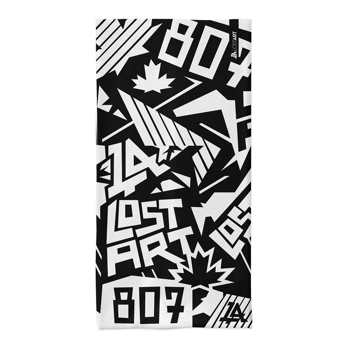 Lost Art Canada - all-over print black white neck tube flat view