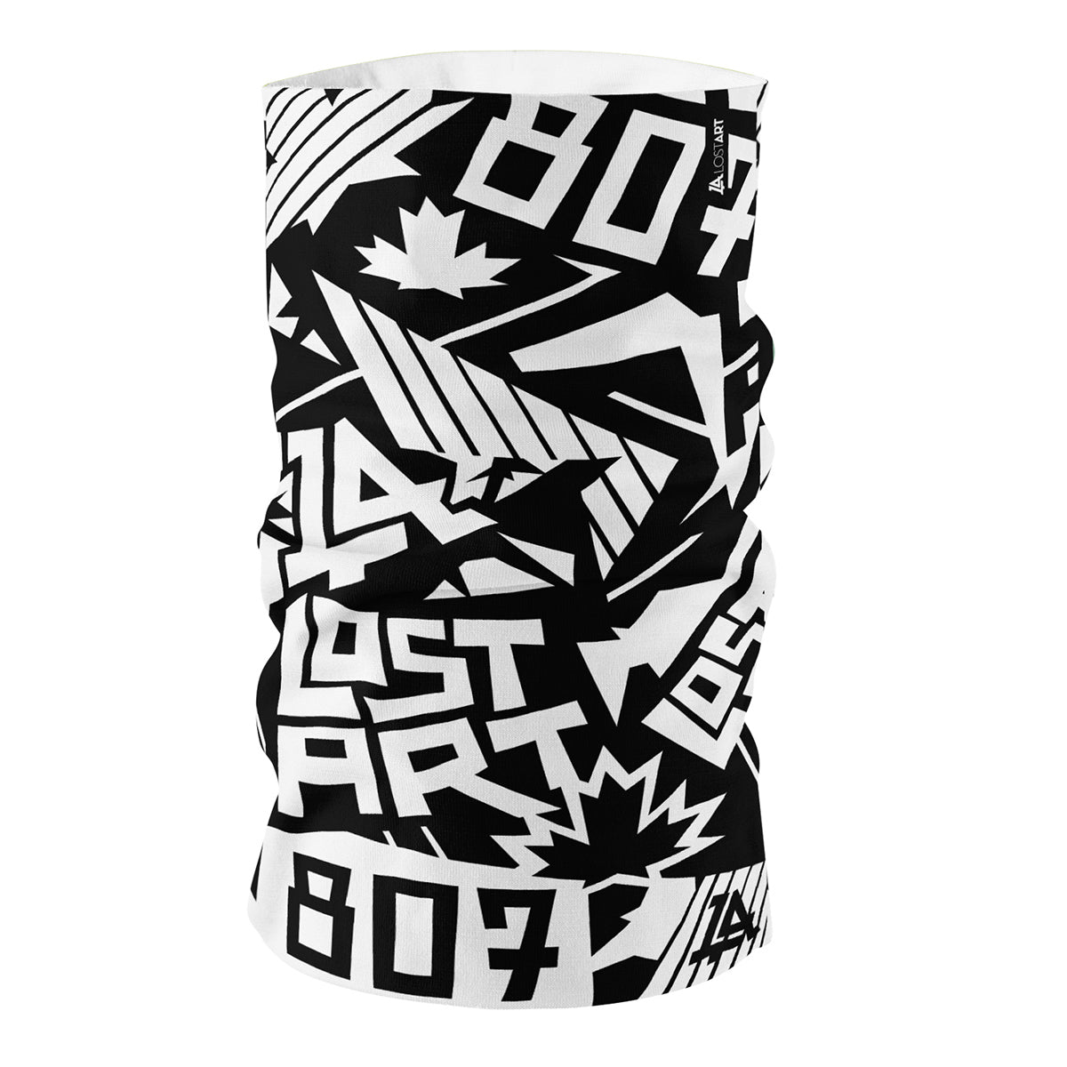 Lost Art Canada - all-over print black white neck tube front view