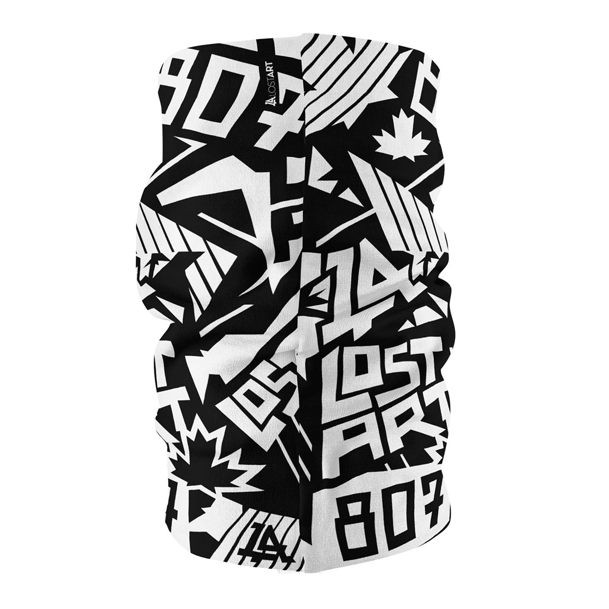 Lost Art Canada - all-over print black white neck tube side view