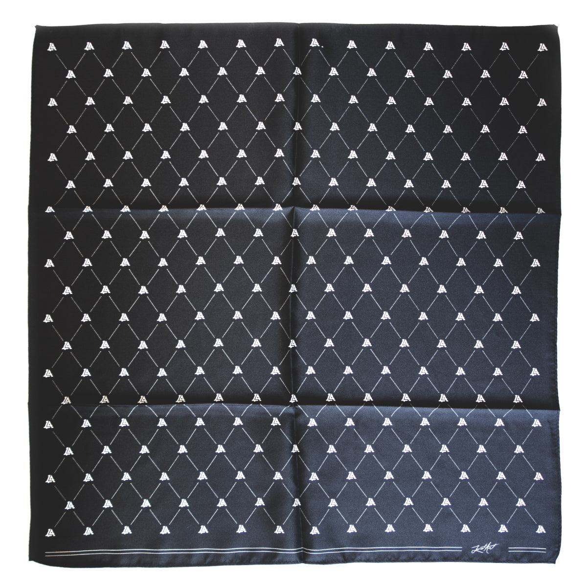Lost Art Canada - custom black silk bandana front view