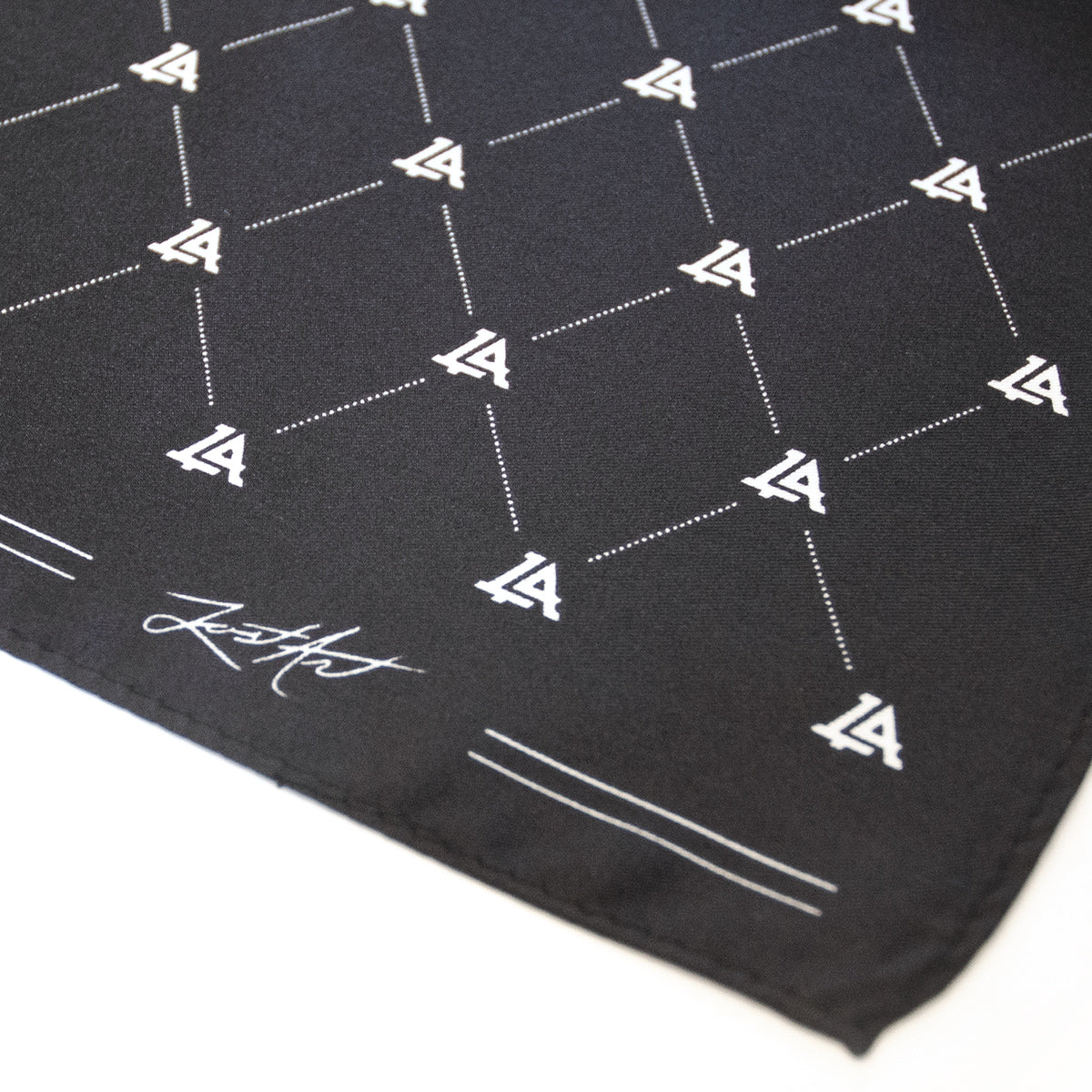 Lost Art Canada - custom black silk bandana close up view