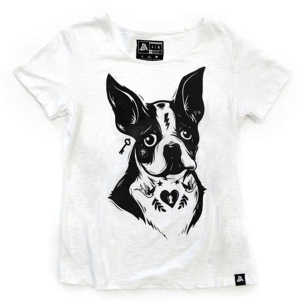Lost Art Canada - black on white women puppy dog tee front view