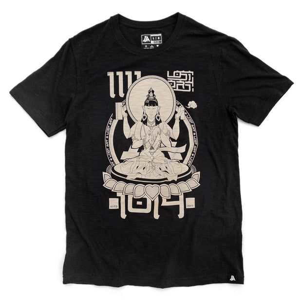 Lost Art Canada - discharge print black buddha tee front view