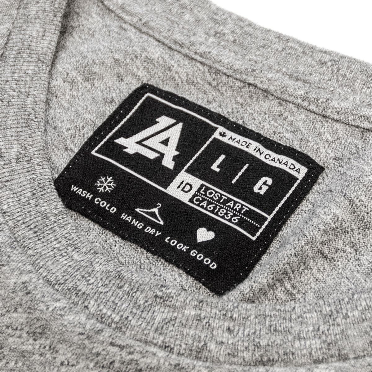 Lost Art Canada - white on grey vintage gridlock tee inside tag view