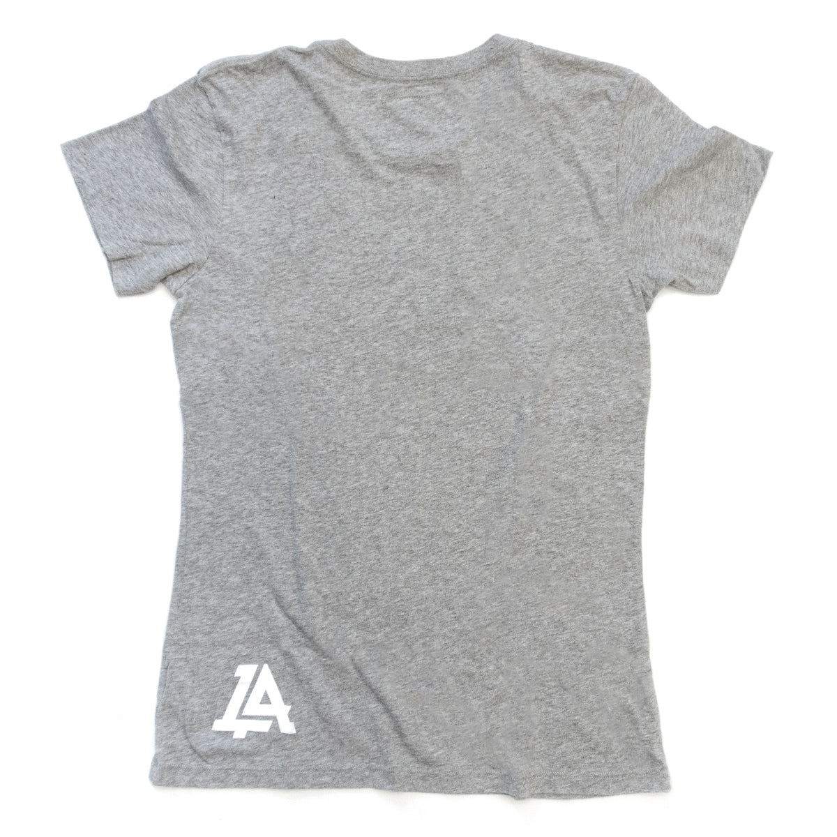 Lost Art Canada - white on grey basic women logo tee back view