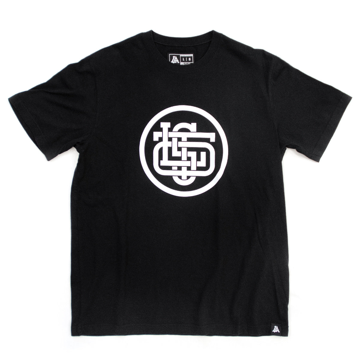Lost Art Canada - white on black monogram logo tee front view