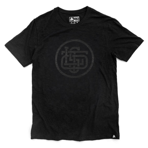 Lost Art Canada - black on black lost monogram tee front view