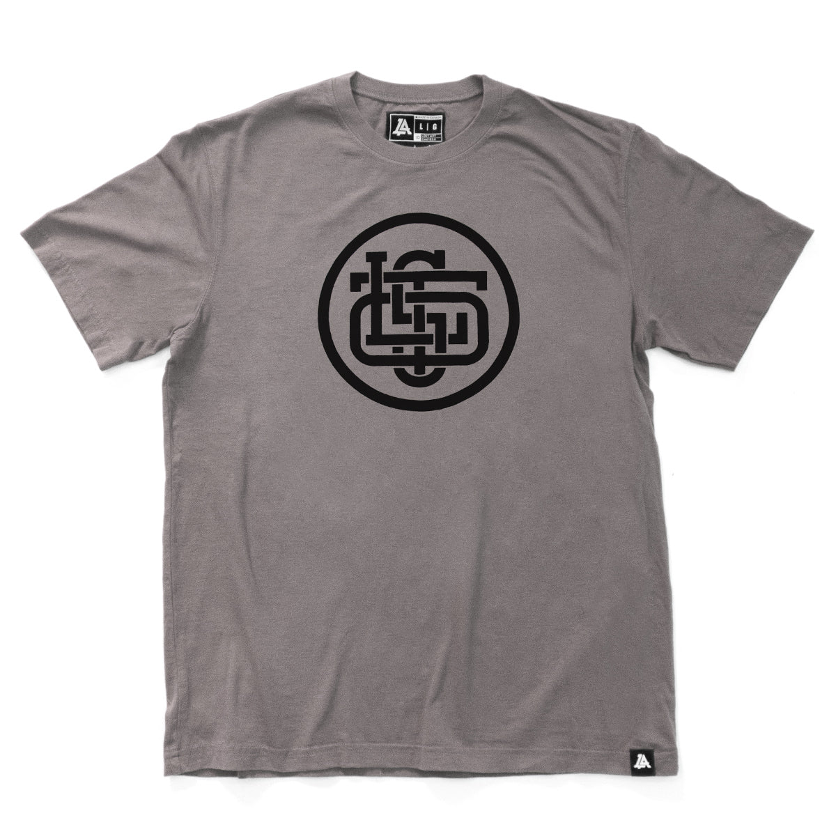 Lost Art Canada - black on slate grey monogram logo tee front view