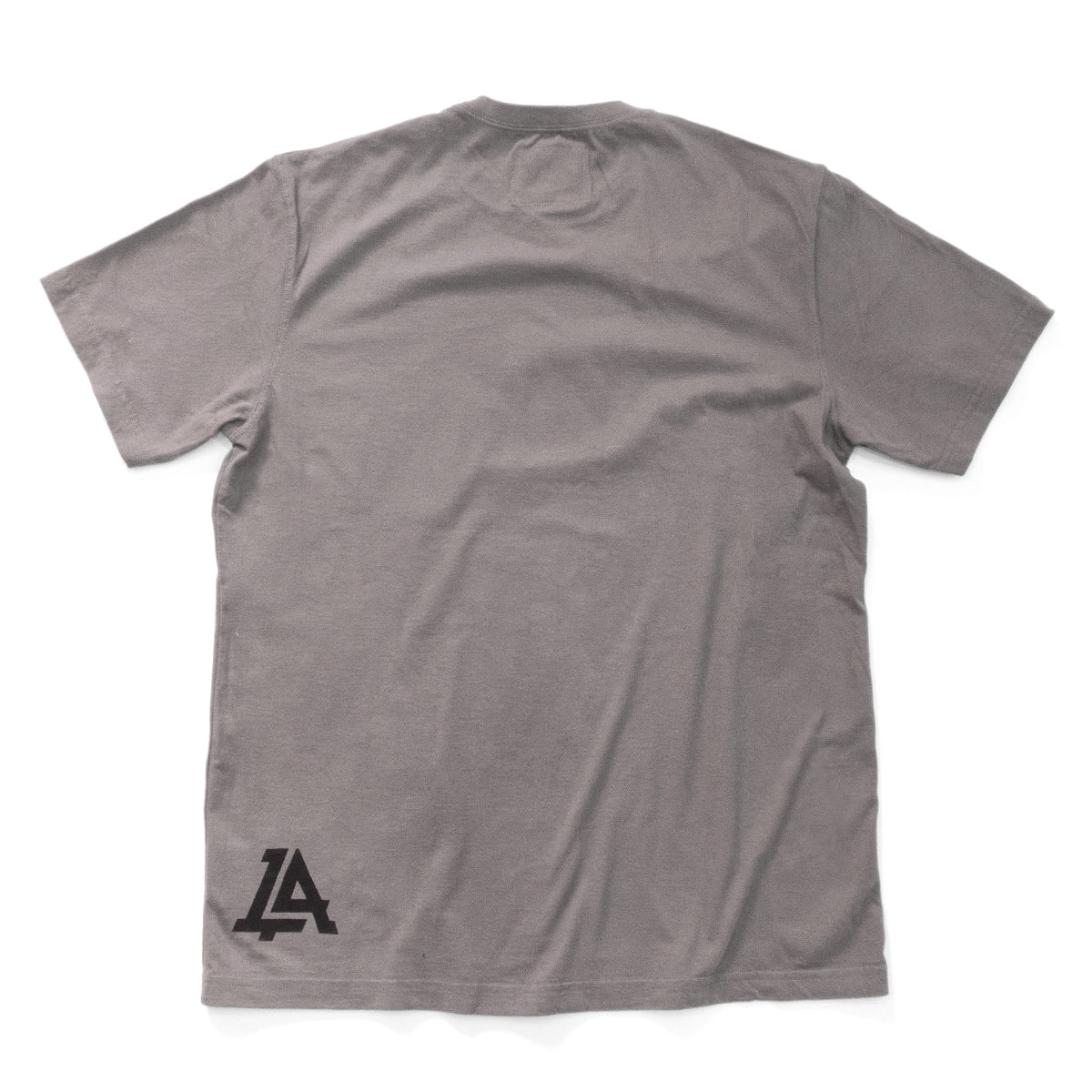 Lost Art Canada - black on slate grey monogram logo tee back view