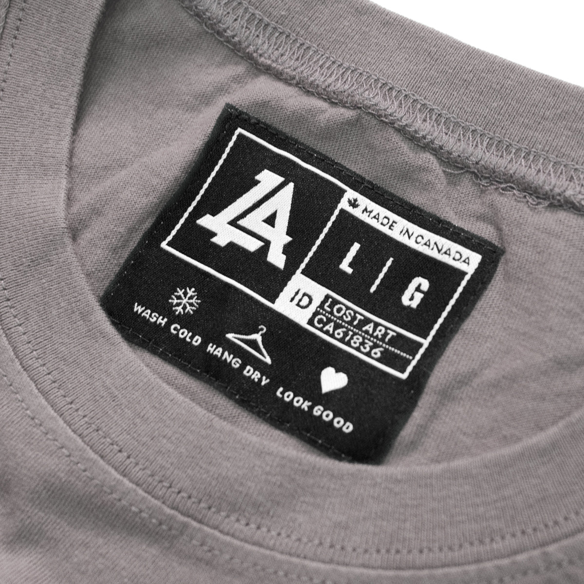 Lost Art Canada - black on slate grey monogram logo tee inside tag view
