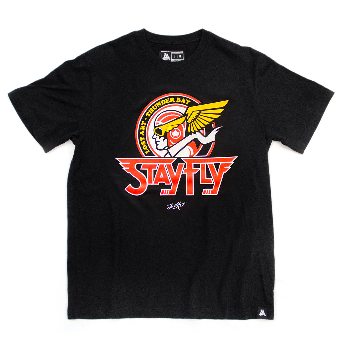 Lost Art Canada - black Thunder Bay flyers logo tee front view