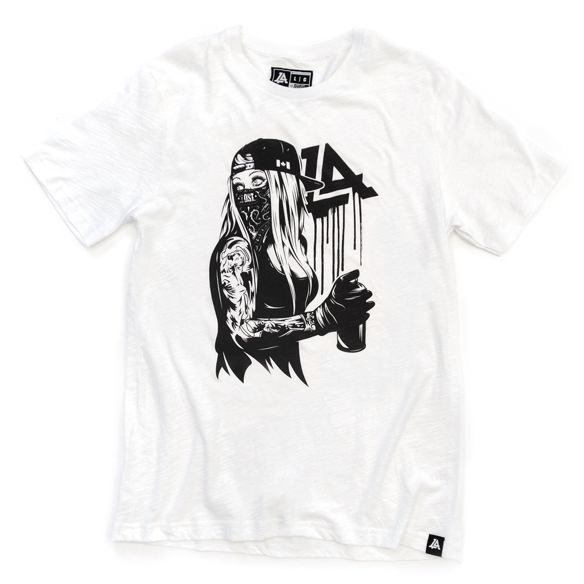 Lost Art Canada - white and black graffiti vandal tee front view