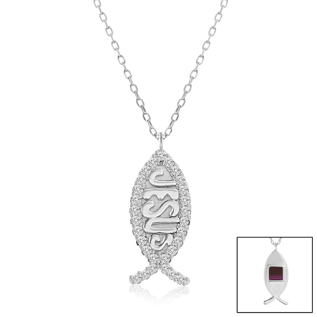 Ichthys Necklace with Cubic Zirconium Stones - WearABible Jewelry