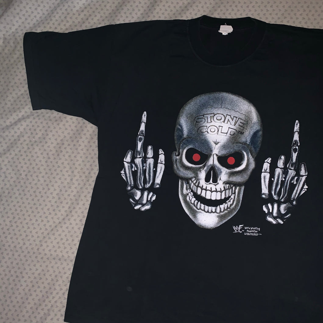 WWF Stone Cold Middle Finger Tee