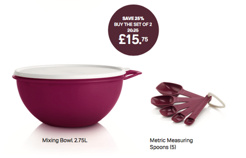 Tupperware Mixing Bowl and Measuring Spoon Set