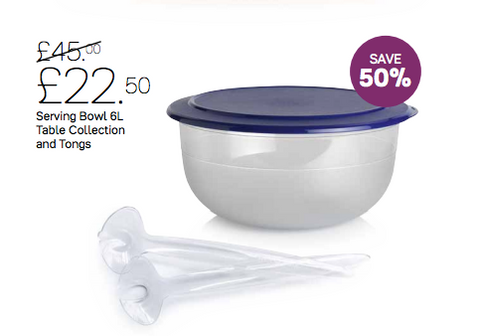 Tupperware 6L Serving Bowl and Tongs - Tupperware Queen Shop UK