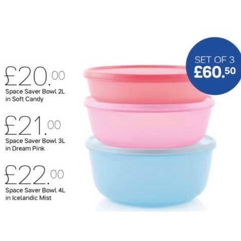 Tupperware Space Saver Bowls Limited Edition - Tupperware Queen Shop UK