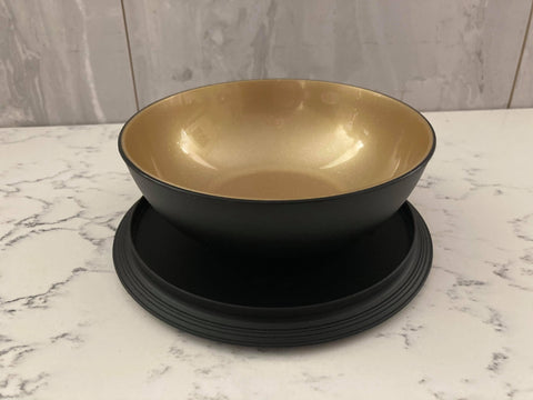 Tupperware Black and Gold Snack Bowl