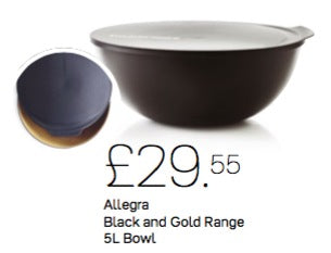 Tupperware - Tupperware Black And Gold Bowl 5L