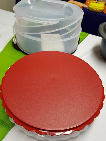 Tupperware - Tupperware Round Twist Up Cake Taker And Pie Divider