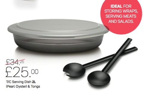 Tupperware - Tupperware Shallow Serving Dish And Tongs