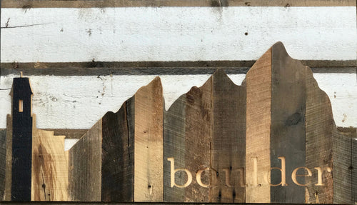 Boulder Mountainscape Carved & Mounted on Reclaimed Wood: PREORDER ONLY